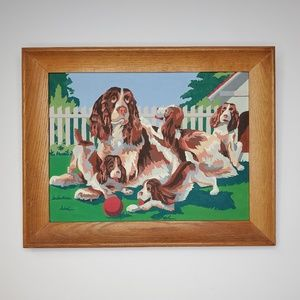 Vtg Mid-Century Paint By Number Springer Spaniels